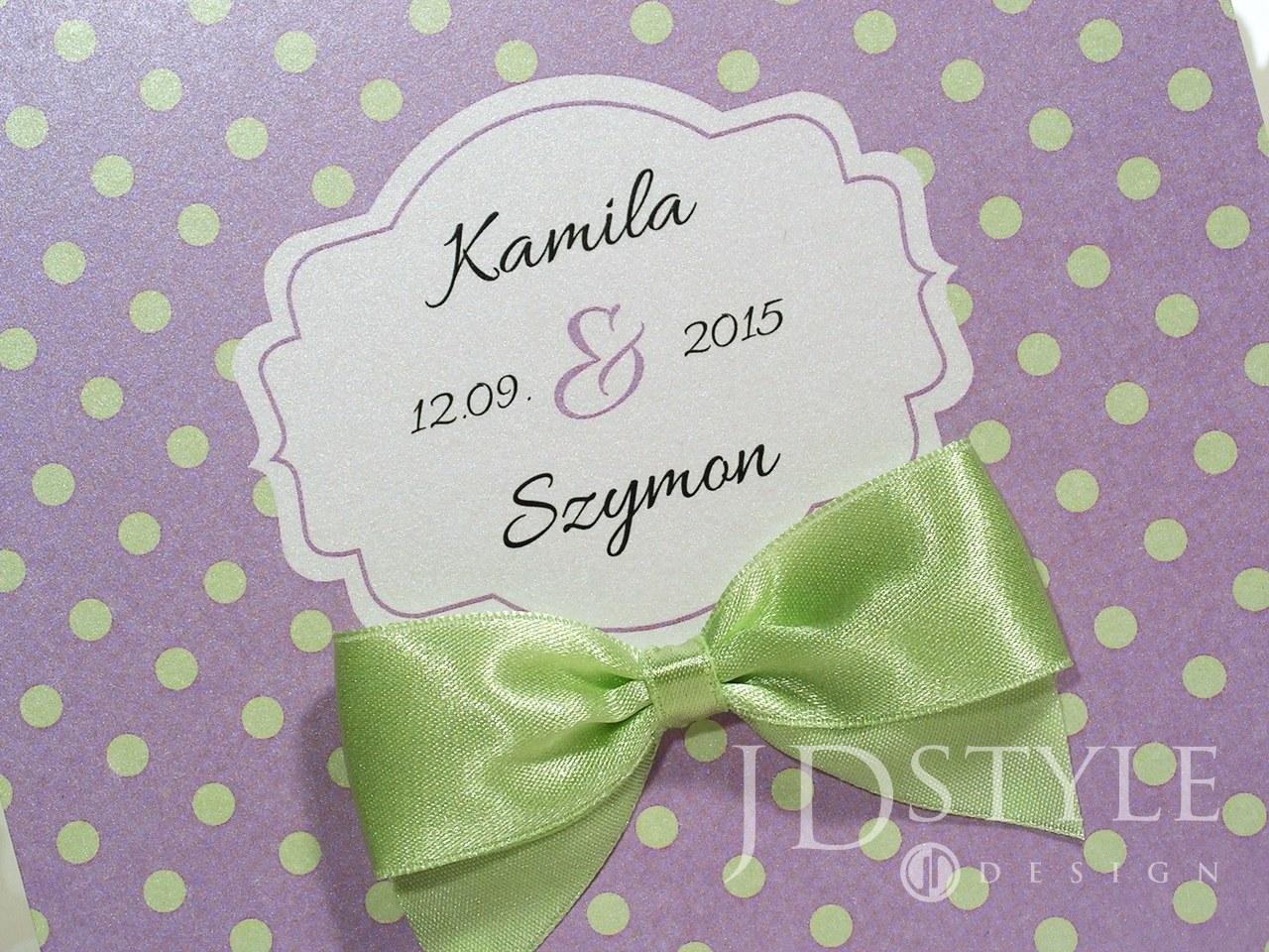 Zaproszenia ślubne groszki jasno zielone CA-03