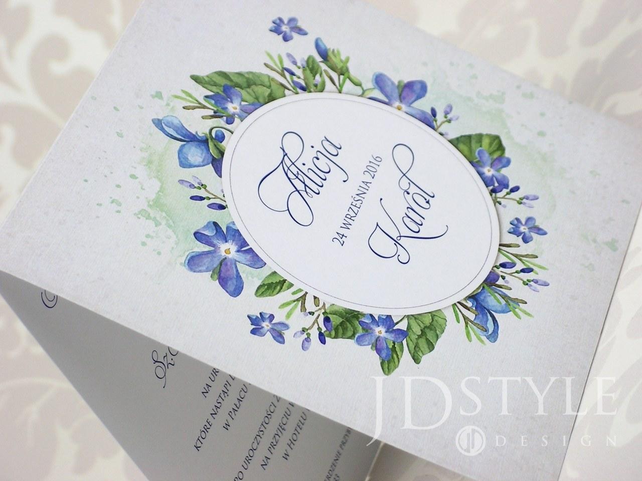 Zaproszenia ślubne kwiatowe chabrowe FL-01