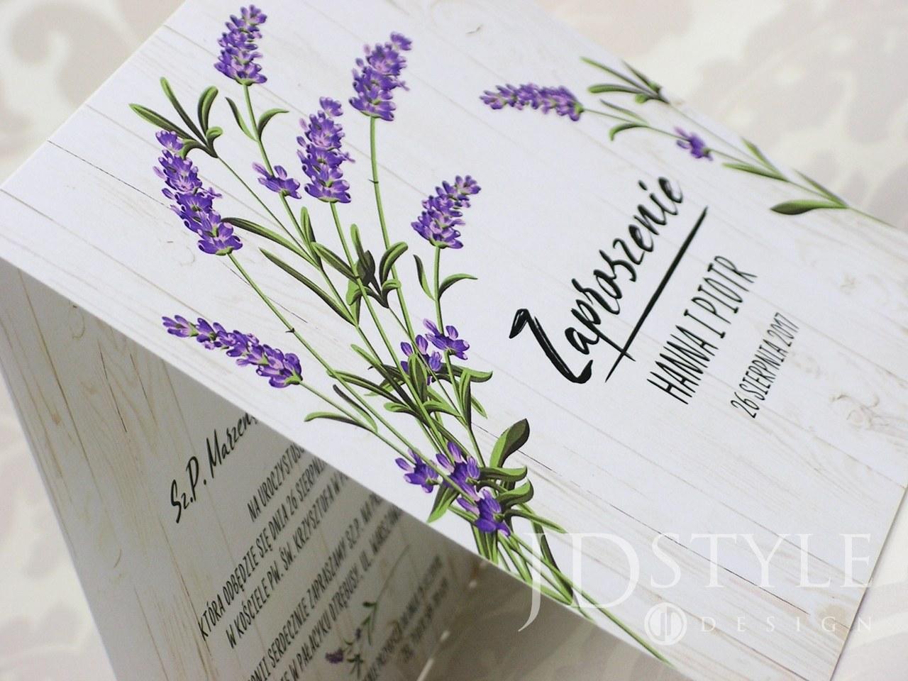 Zaproszenia ślubne kwiatowe lawenda FL-15