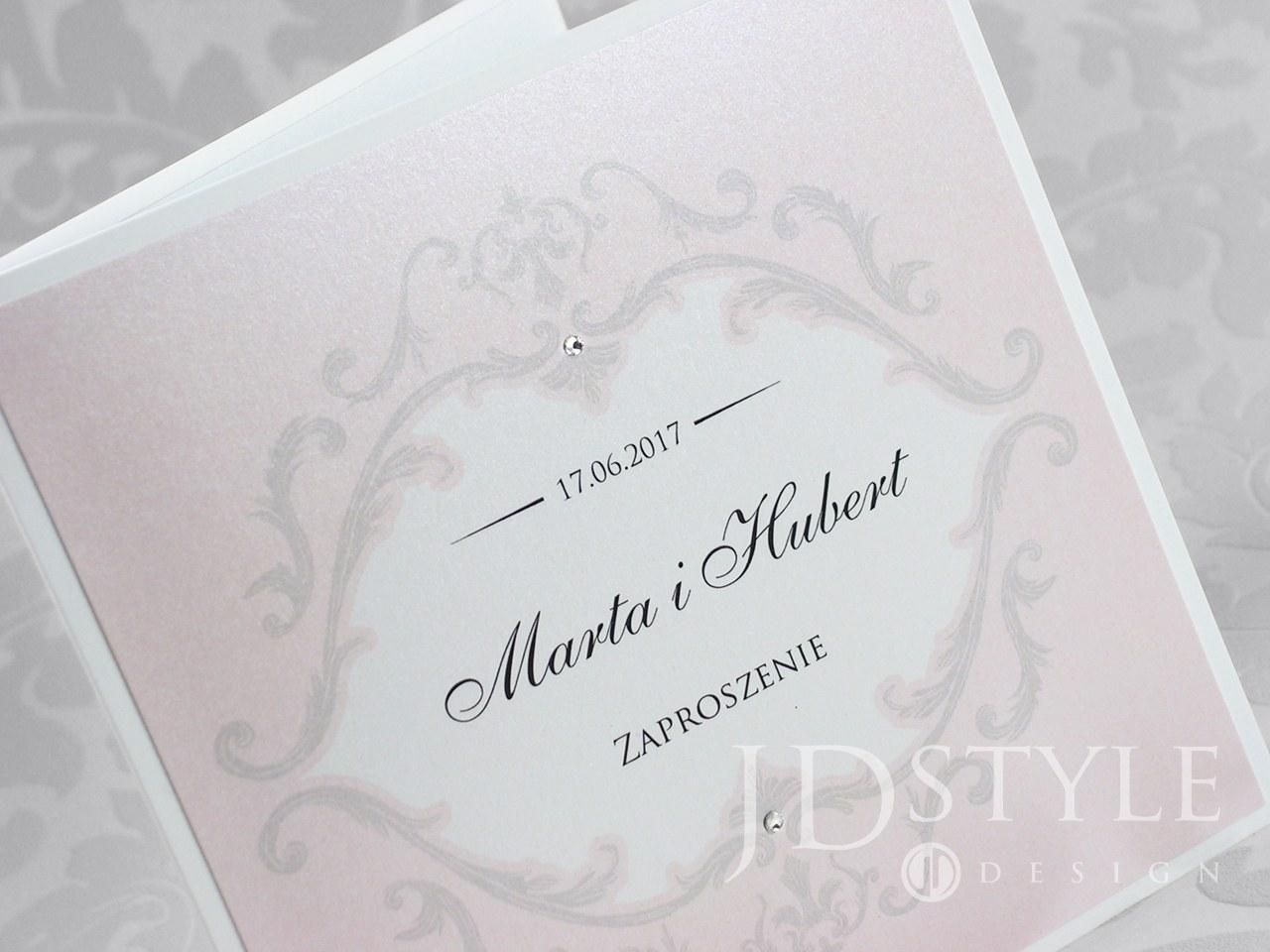 Różowe zaproszenie na ślub