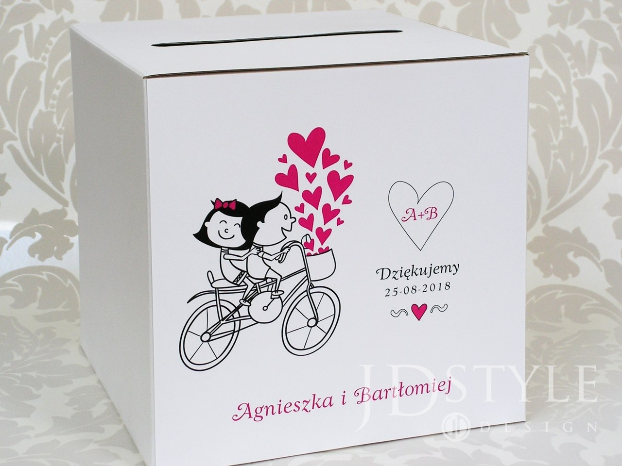 Pudełko na koperty z humorem para na rowerze FN-08-PNK