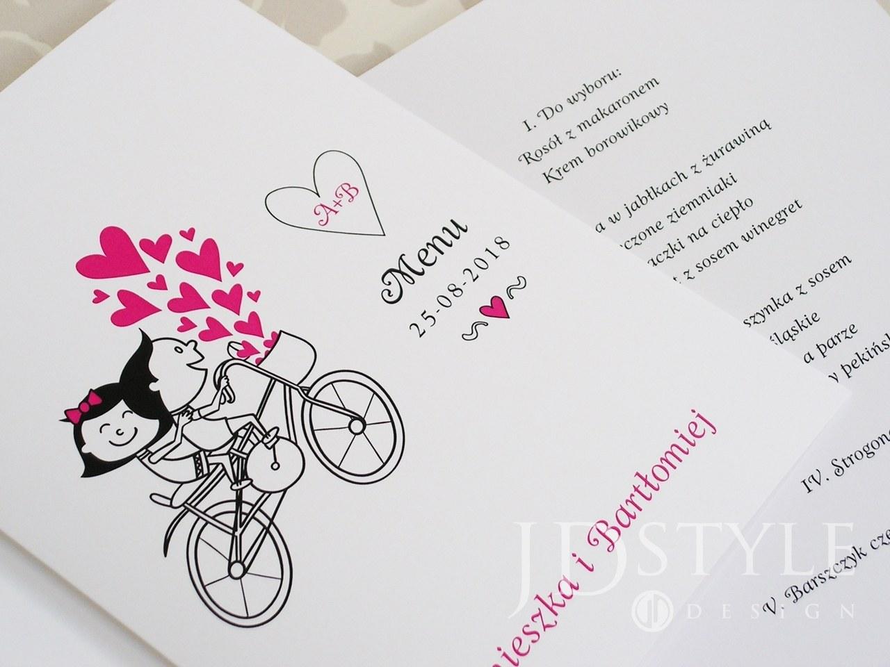 Śmieszne karty menu z rowerem i serduszkami FN-08-M
