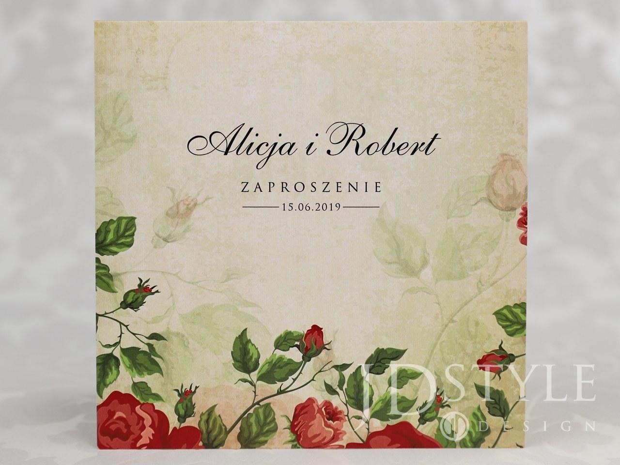 Zaproszenia ślubne Czerwone Róże Vintage Vi 53 Jdstyle