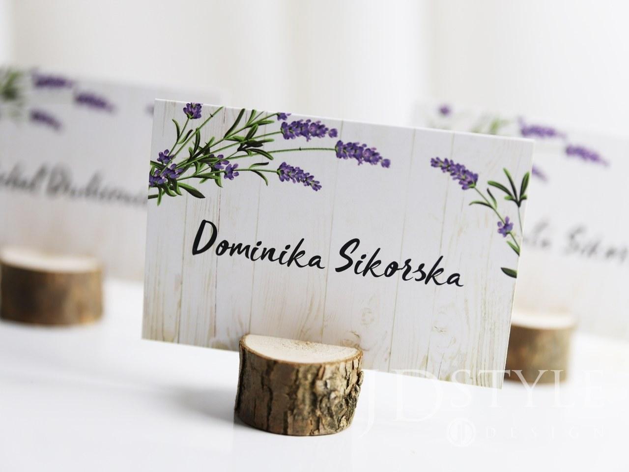 Winietki na stoliki weselne z kwiatem lawendy FL-15-W