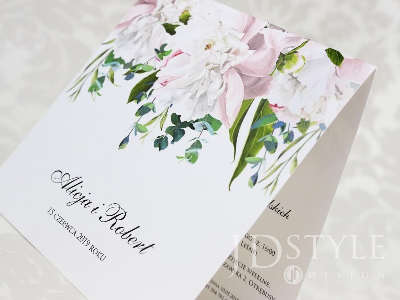 Zaproszenia ślubne kwiatowe piwonie jasno różowe oraz białe FL-48