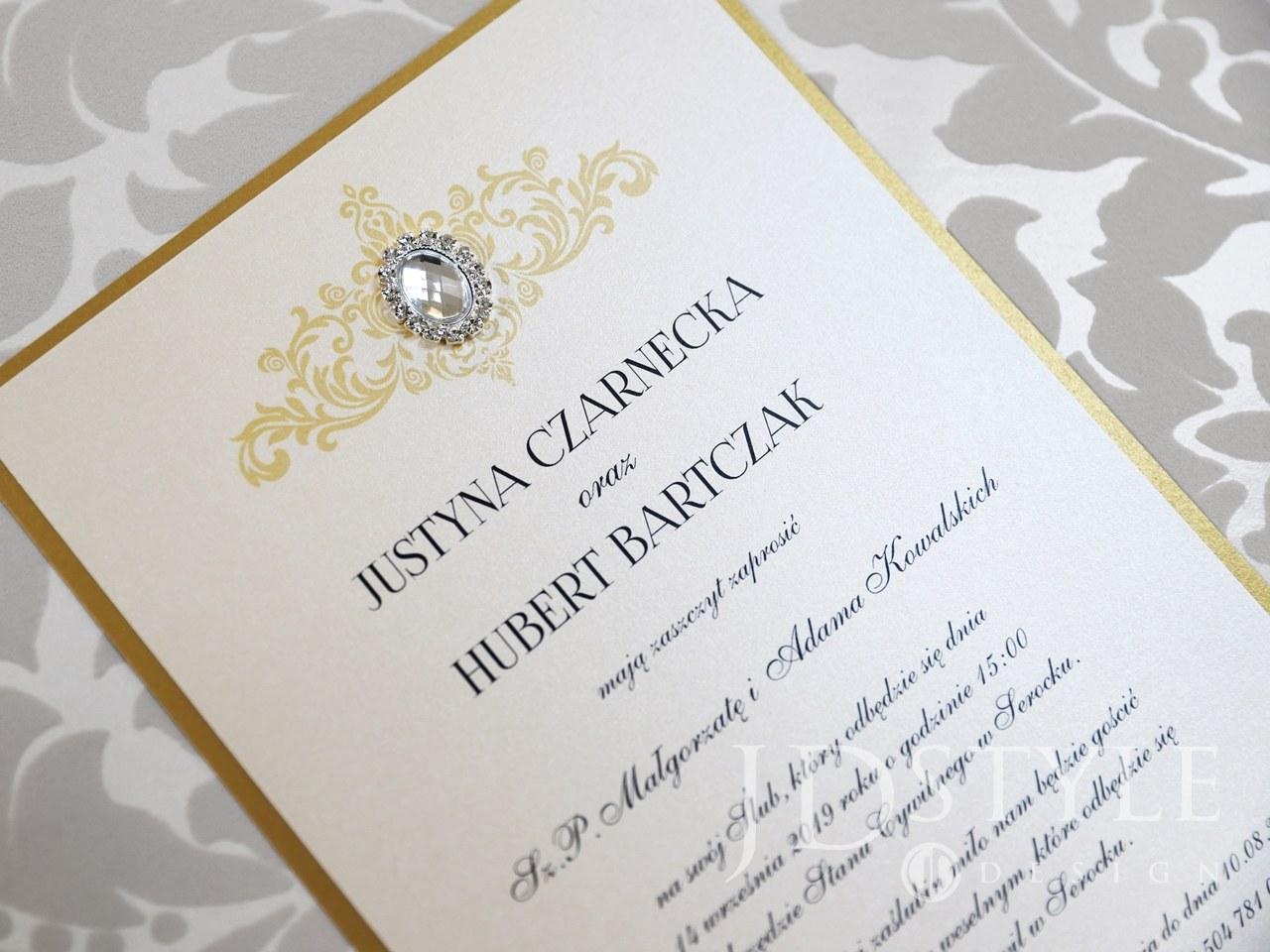 56780cabef Zaproszenia ślubne ekskluzywne ze złotymi dodatkami GL-10   Glamour ...
