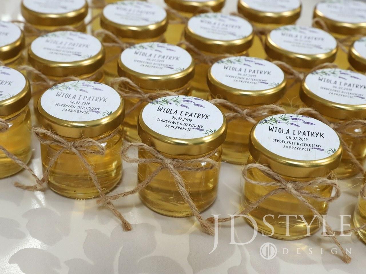 Słodkie prezenciki dla gości miodki z lawendą FL-15-MI
