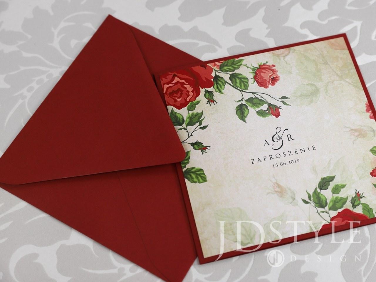 Zaproszenia ślubne czerwone róże Vintage klejone VI-54