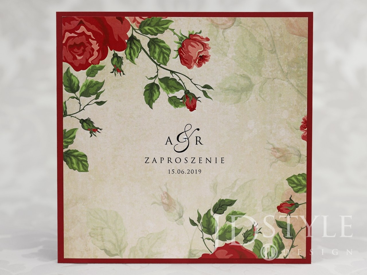 Zaproszenia ślubne Czerwone Róże Vintage Klejone Vi 54 Jdstyle