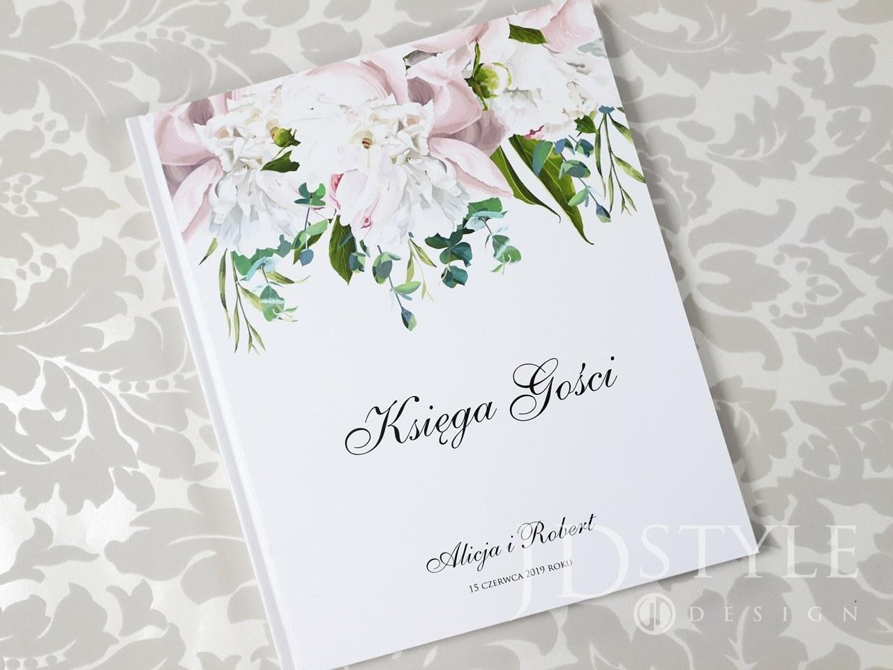 Księga wpisów gości motyw jasno różowych i białych piwonii FL-48-K