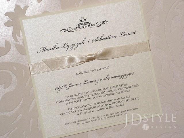 Zaproszenia ślubne Elegant Tasiemka Wąska El 15 Elegant