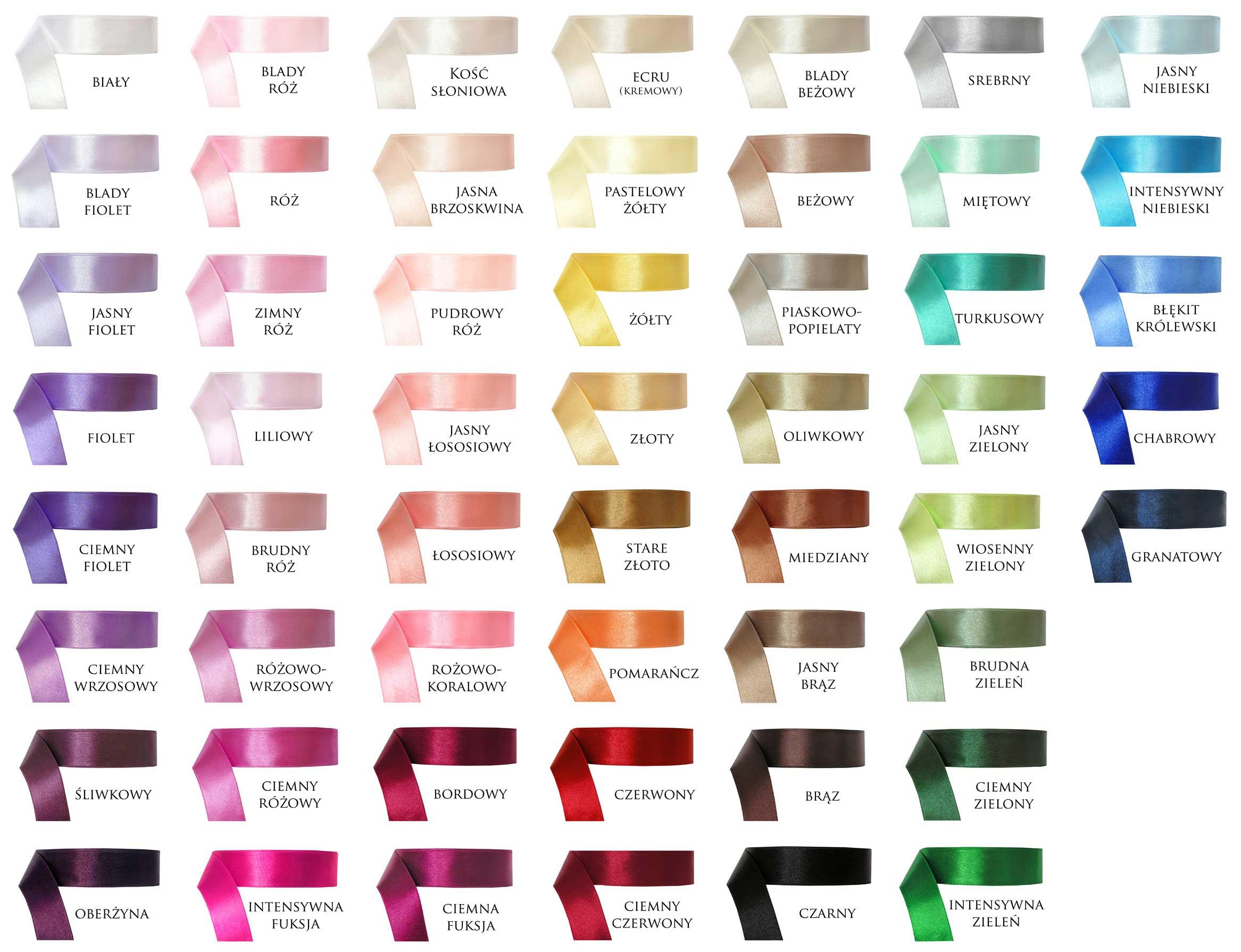 Zobacz pełną paletę kolorów tasiemek do wyboru
